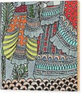 Radha Krishna Fish Wood Print