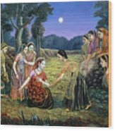 Radha Lamenting With The Gopis Wood Print