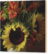 Radiant Sunflowers And Peruvian Lilies Wood Print