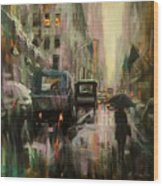 Rainy At Radio City Music Hall Wood Print
