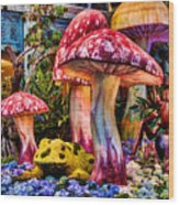 Radioactive Mushrooms Wood Print
