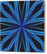 Radioactive Snowflake Blue Wood Print