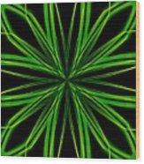 Radioactive Snowflake Green Wood Print