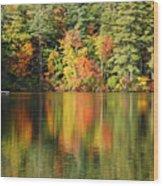 Raft On Autumn Pond Wood Print
