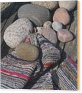 Rag Rugs With Stones And The Dock 3 Wood Print