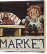 Raggedy Ann Selling Raspberries Wood Print