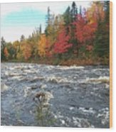 Raging Michigamme River Wood Print