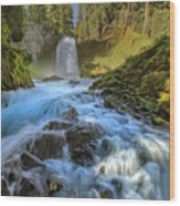 Raging Sahalie Falls Wood Print