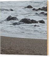 Raging Sea Wood Print