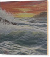 Raging Surf Wood Print