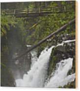 Raging Water Fall Wood Print