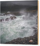 Raging Waves On The Oregon Coast Wood Print