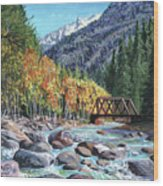 Rail Bridge At Cascade Wood Print
