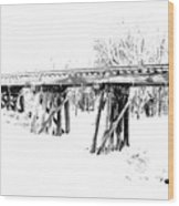 Rail Road Bridge In Winter 1 Wood Print by James Granberry