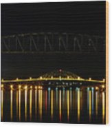 Railroad And Bourne Bridge At Night Cape Cod Wood Print
