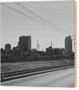 Railroad And The City Wood Print