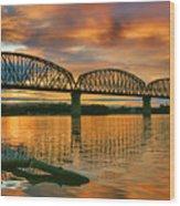 Railroad Bridge At Sunrise Wood Print by Steven Ainsworth