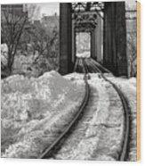 Railroad Bridge In Winter Wood Print