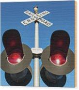 Railroad Crossing Lights Wood Print