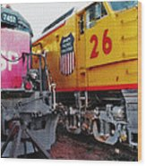 Railroad Museum Triptych Wood Print by Steve Ohlsen