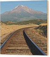 Railroad To The Mountain Wood Print