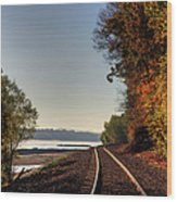 Railroad Track By The Mississippi  Wood Print