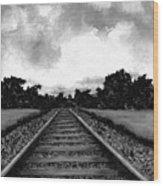 Railroad Tracks - Charcoal Wood Print