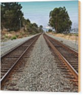 Railroad Tracks With The New Alfred Zampa Memorial Bridge And The Old Carquinez Bridge In Distance Wood Print