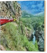 Rails Above The River Wood Print