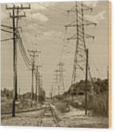 Rails And Wires Wood Print