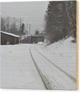 Rails In Snow Wood Print