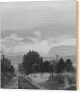 Railway Into The Clouds Bw Wood Print