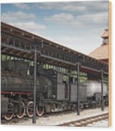 Railway Station With Old Steam Locomotive Wood Print