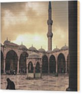 Rain At The Blue Mosque Wood Print