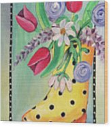 Rain Boots And Flowers Wood Print