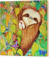 Rain Forest Survival Mother And Baby Three Toed Sloth Wood Print