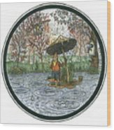 Rain Gnome Rain Circle Wood Print