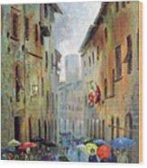 Rain in San Gimignano Wood Print