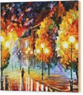 Rain In The Night City Wood Print