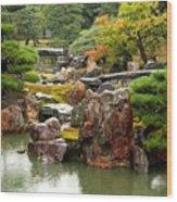 Rain On Kyoto Garden Wood Print