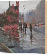 Rain On Sixth Avenue Wood Print