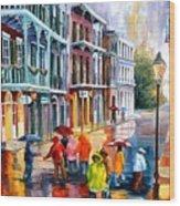 Rain On St. Peter Street Wood Print