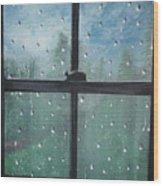 Rain On The Window Wood Print