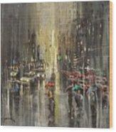 Rain On Wisconsin Avenue Wood Print