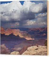 Rain Over The Grand Canyon Wood Print