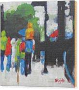 Rain People Wood Print