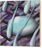 Life On Purple Plaid Wood Print