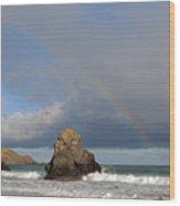 Rainbow Above Sango Bay Sea Stack Wood Print