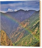Rainbow Across Canyon Wood Print