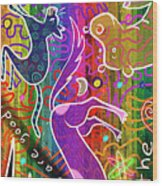 Rainbow Animals Yoga Mat Wood Print